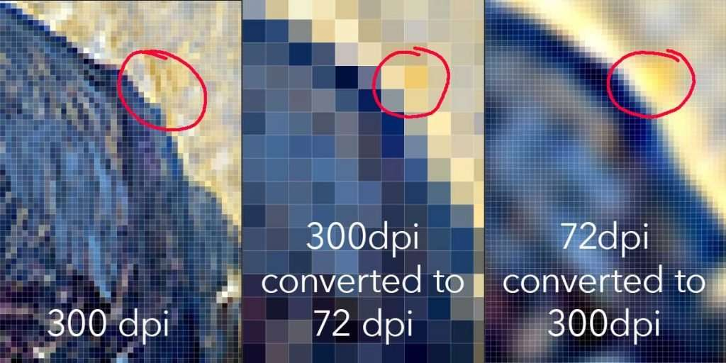 Compare how the photo editing software converted the color to pixels in each image